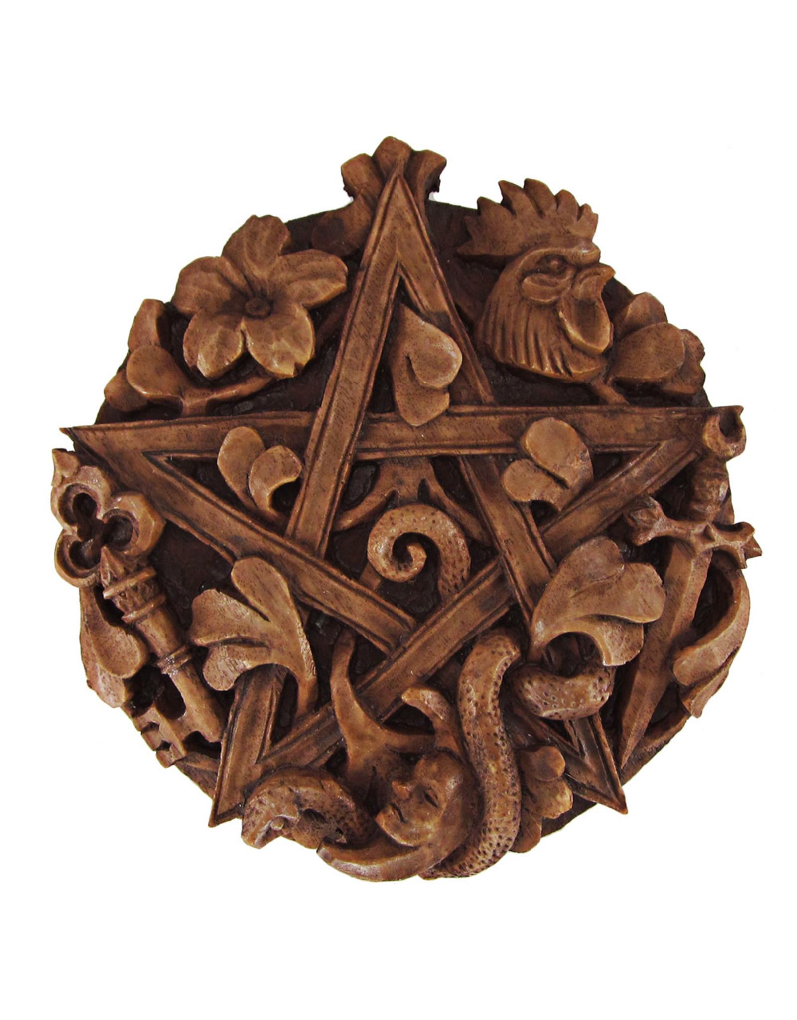 Cimaruta Pentacle Plaque in Wood Finish