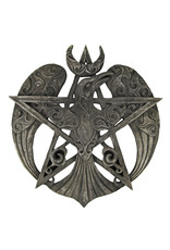 Crescent Raven Pentacle Plaque in Stone Finish