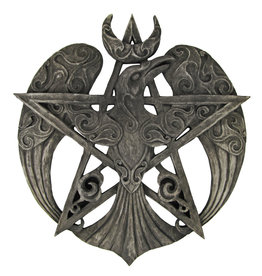 Crescent Raven Pentacle Plaque in Stone Finish