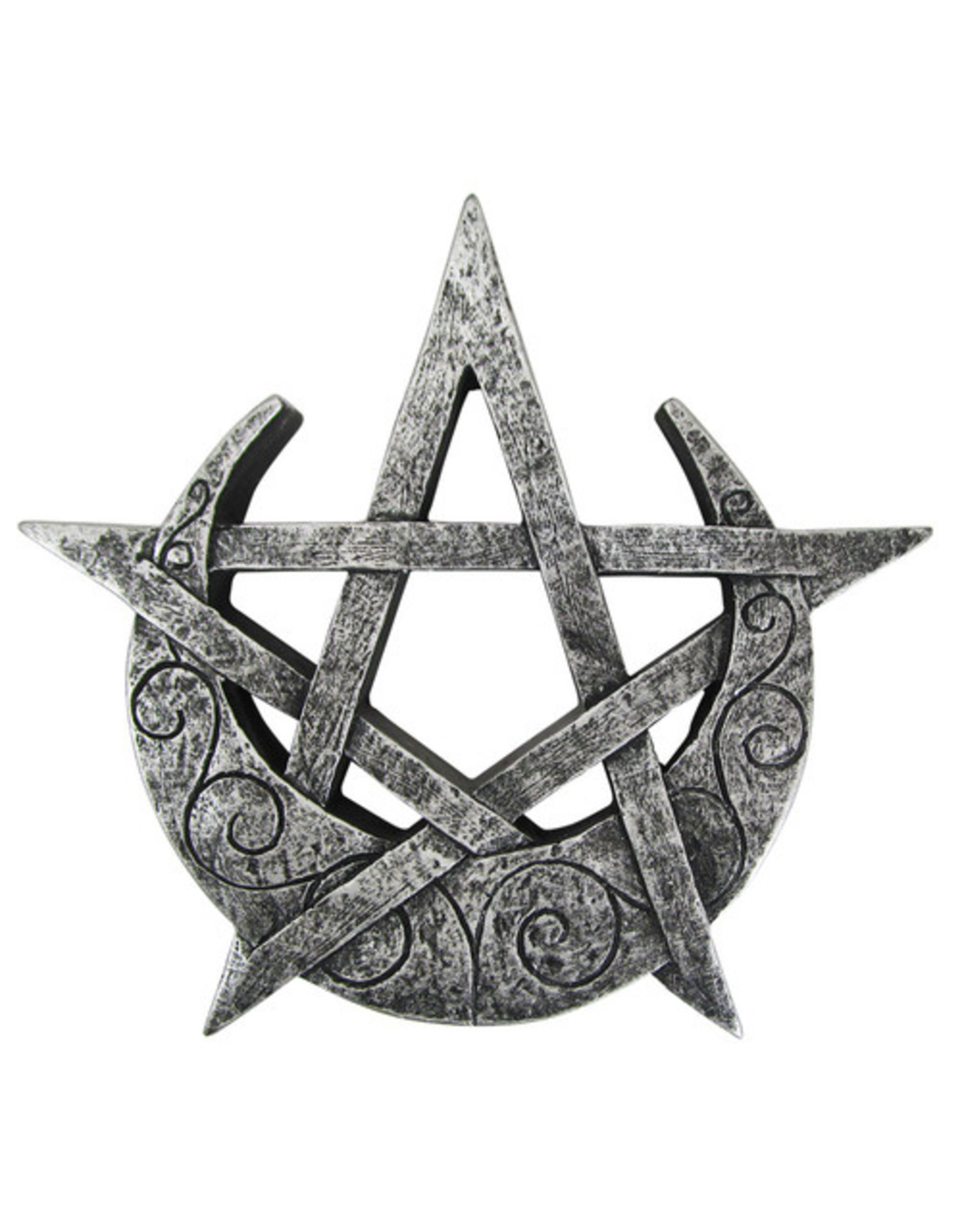 Crescent Moon Pentacle Plaque in Silver Finish