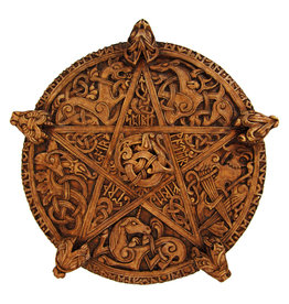 Knotwork Pentacle Plaque in Wood Finish