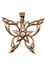 Butterfly Pentacle Pendant in in Copper with Moonstone