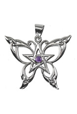 Butterfly Pentacle Pendant with Amethyst in Sterling Silver
