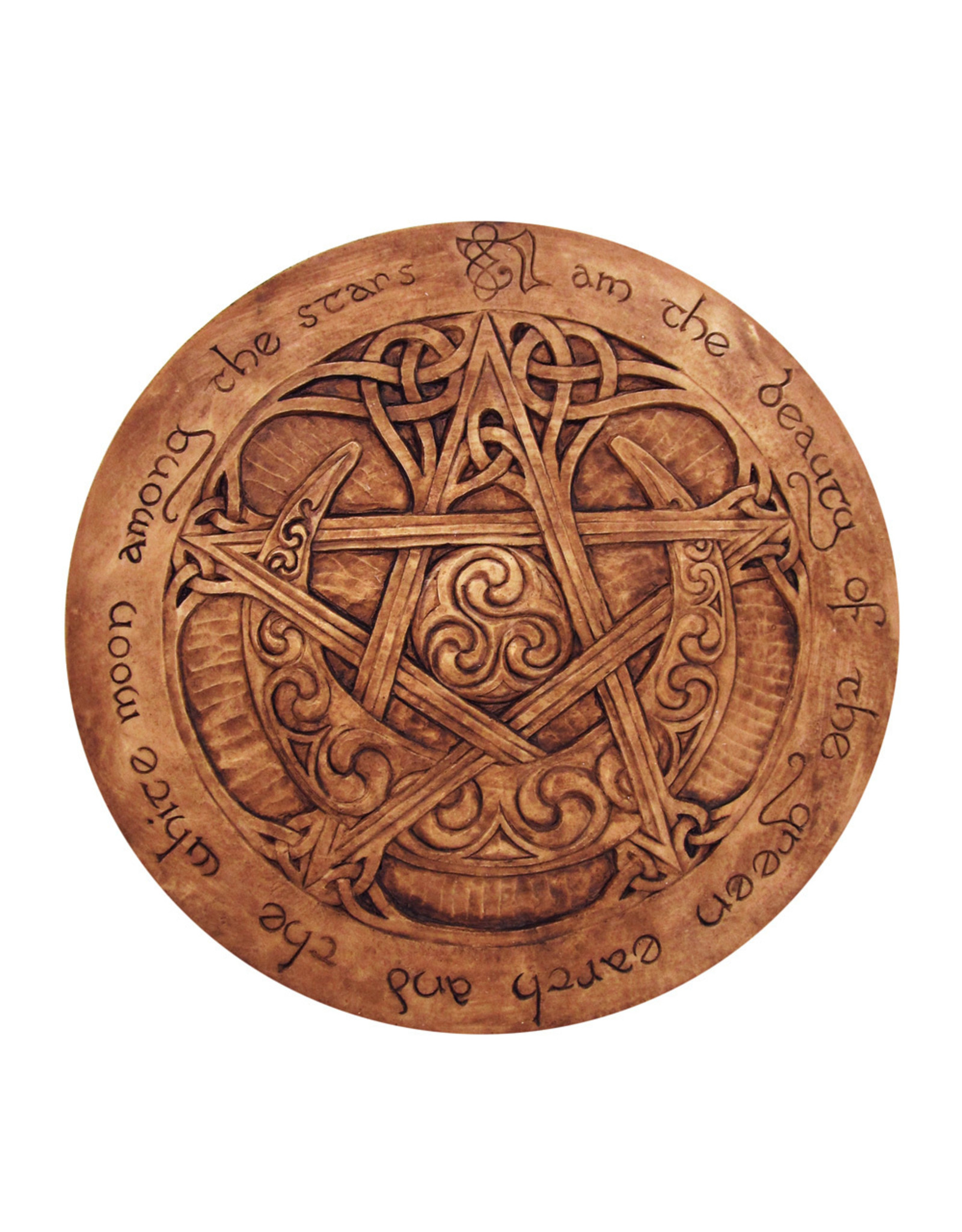 Large Moon Pentacle Plaque in Wood Finish