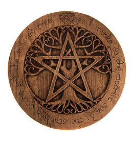 Large Tree Pentacle Plaque in Wood Finish