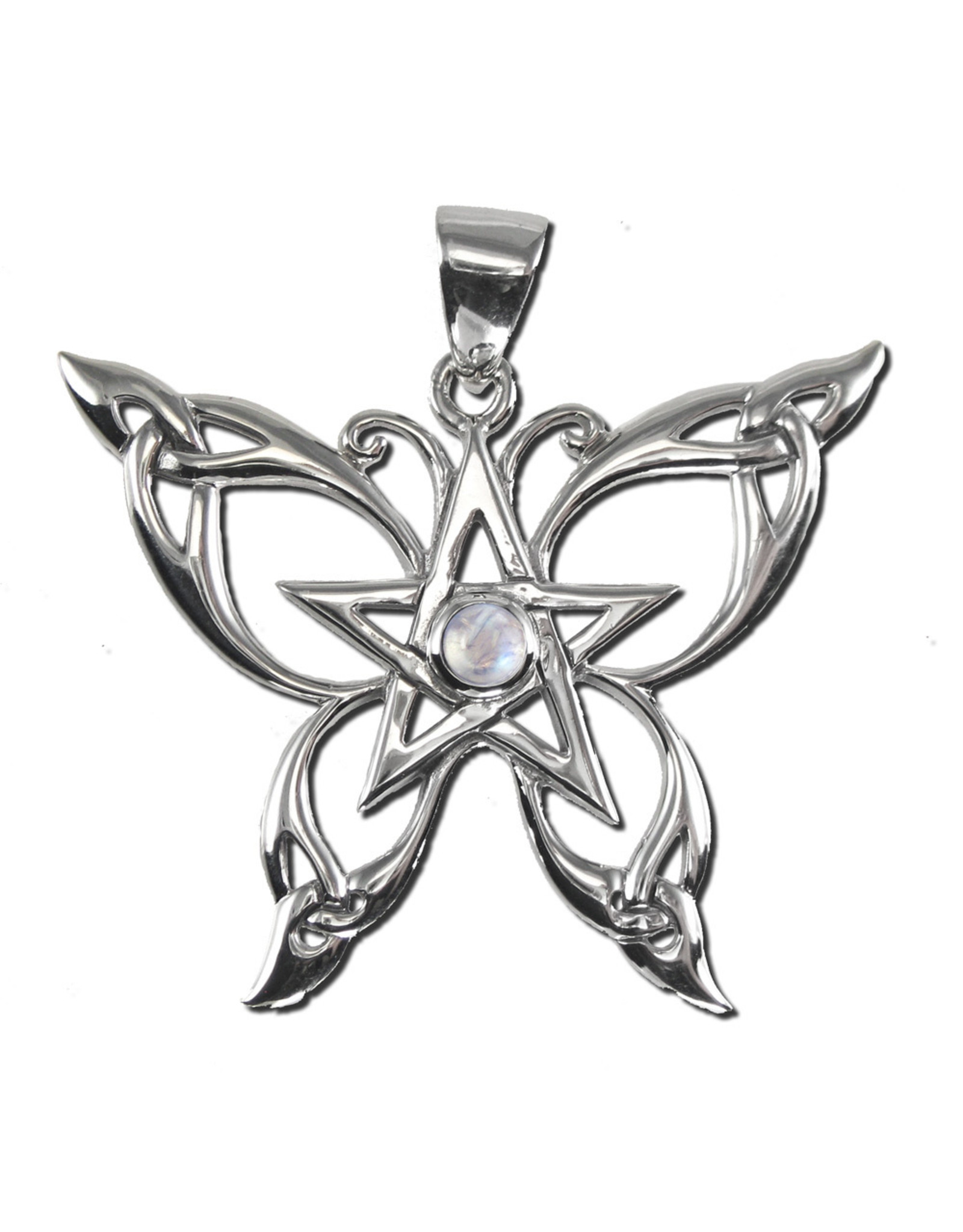 Butterfly Pentacle Pendant with Rainbow Moonstone in Sterling Silver