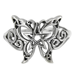 Butterfly Pentacle Ring in Sterling Silver