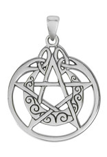 Crescent Moon Pentacle Circle Pendant in Sterling Silver