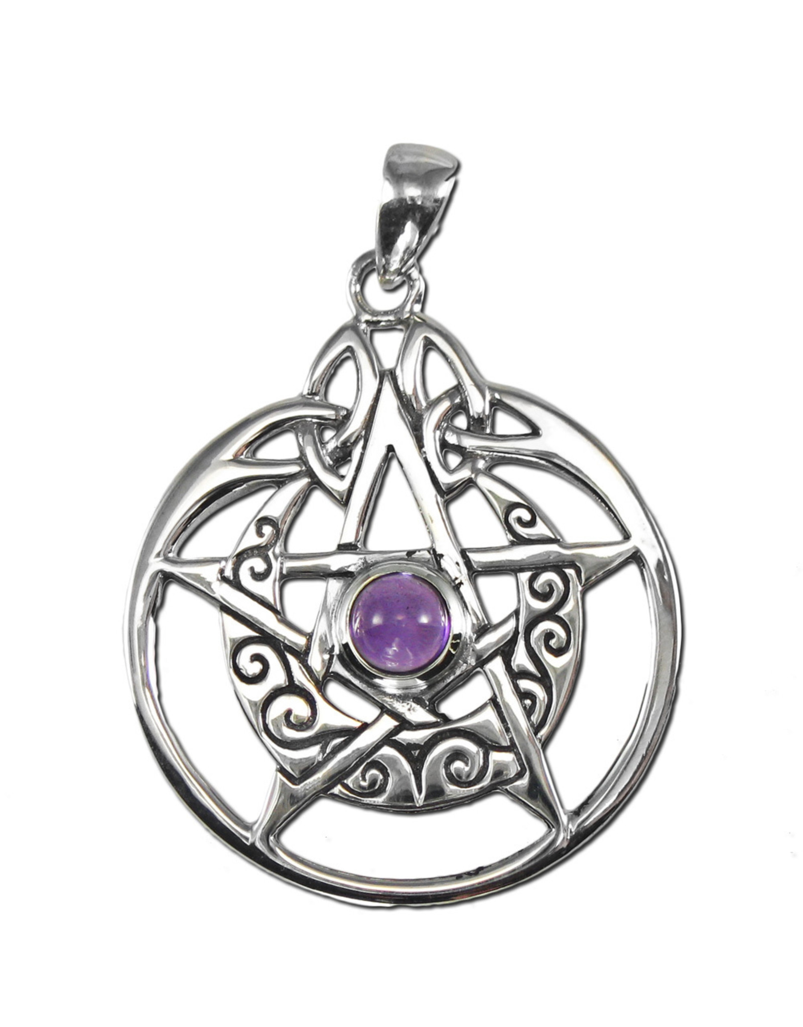 Crescent Moon Pentacle Circle Pendant with Amethyst in Sterling Silver