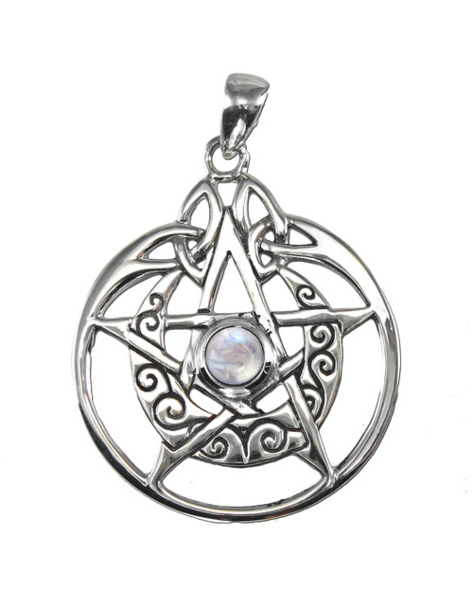 Crescent Moon Pentacle Circle Pendant with Rainbow Moonstone in Sterling Silver