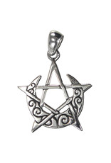 Crescent Moon Pentacle Pendant in Sterling Silver