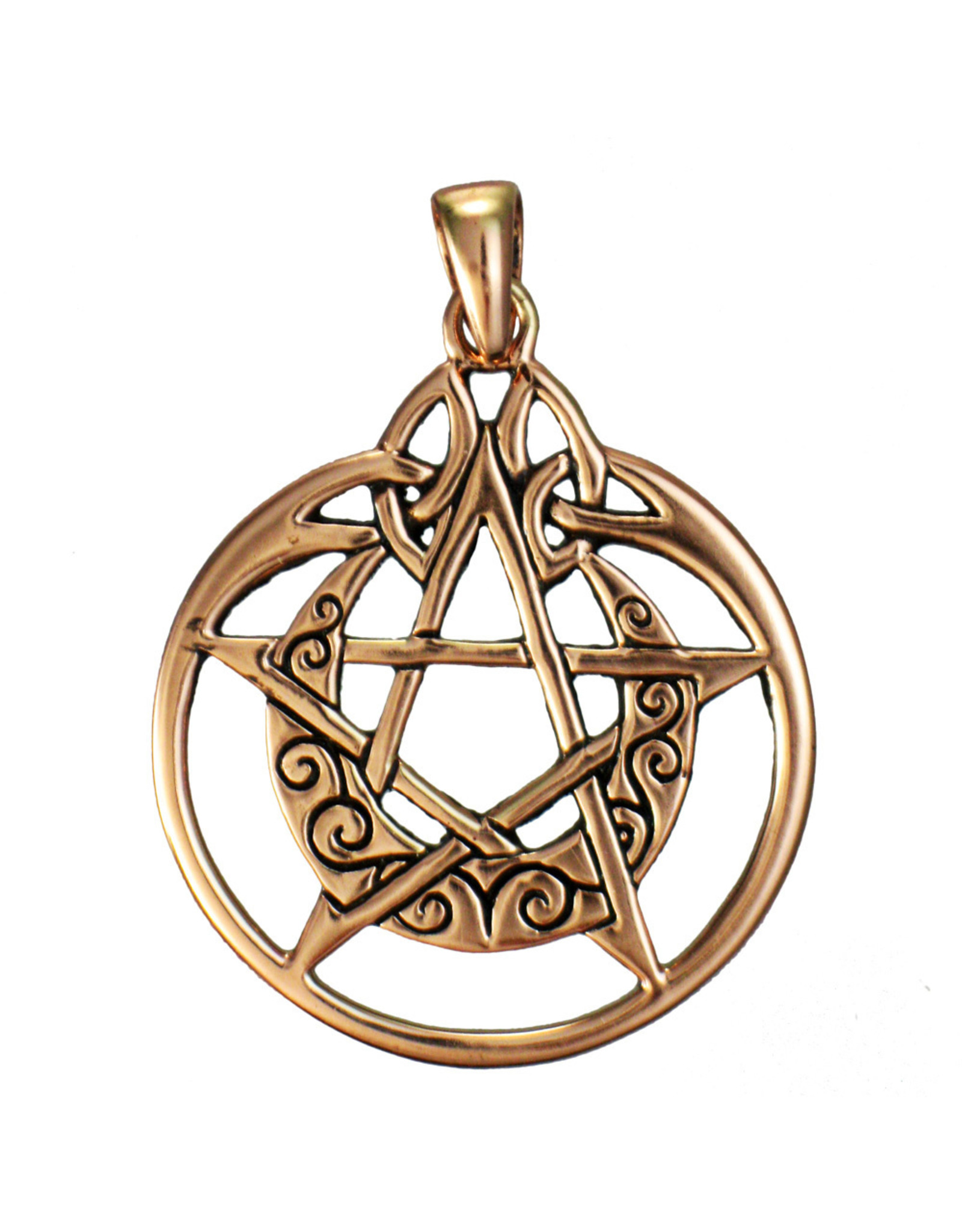 Crescent Moon Pentacle Pendant with Circle in Copper