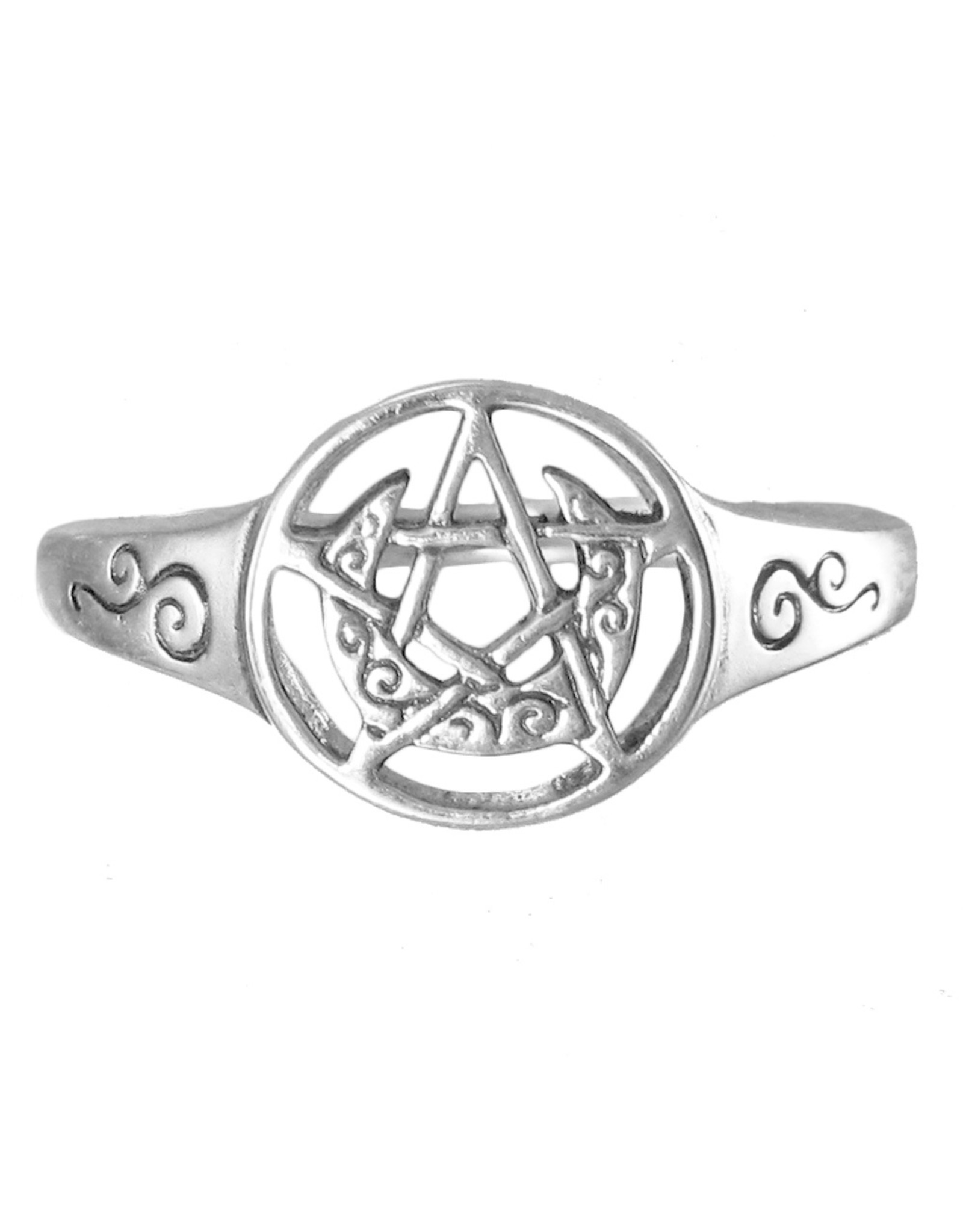 Crescent Moon Pentacle Ring in Sterling Silver