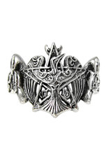 Crescent Raven Pentacle Ring in Sterling Silver