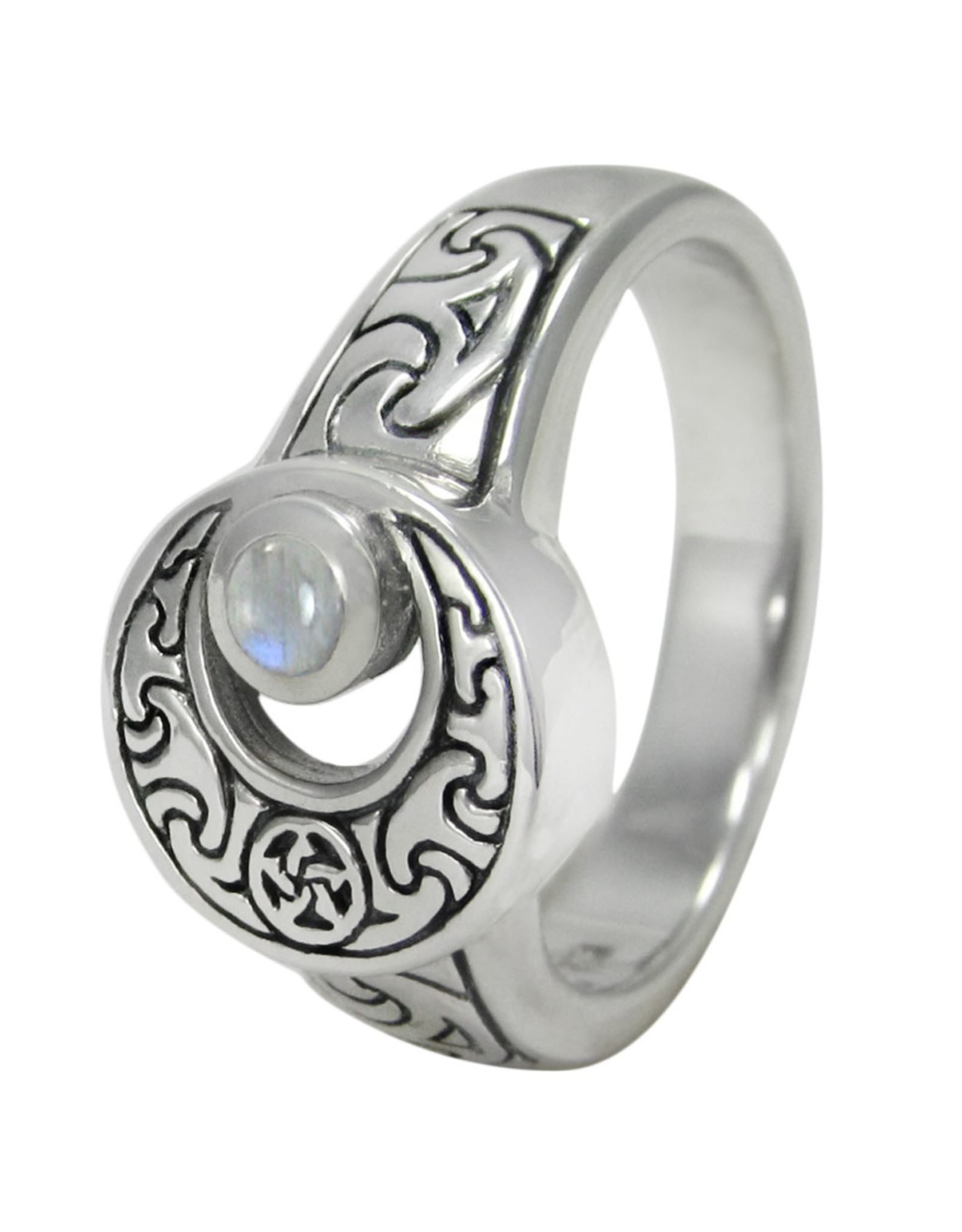 Crescent Moon Ring with Rainbow Moonstone in Sterling Silver