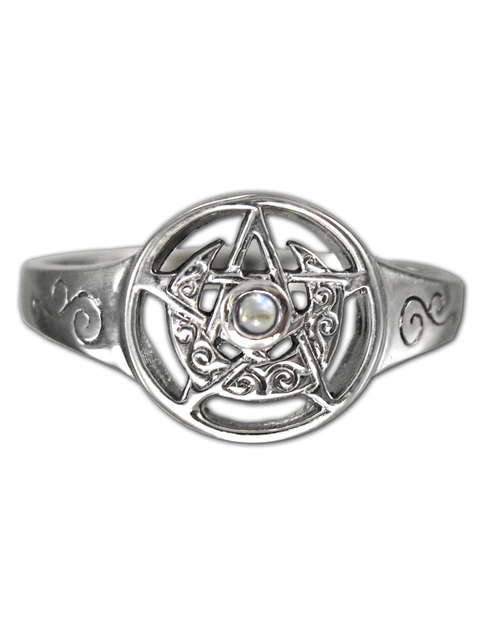 Crescent Moon Pentacle Ring with Rainbow Moonstone in Sterling Silver