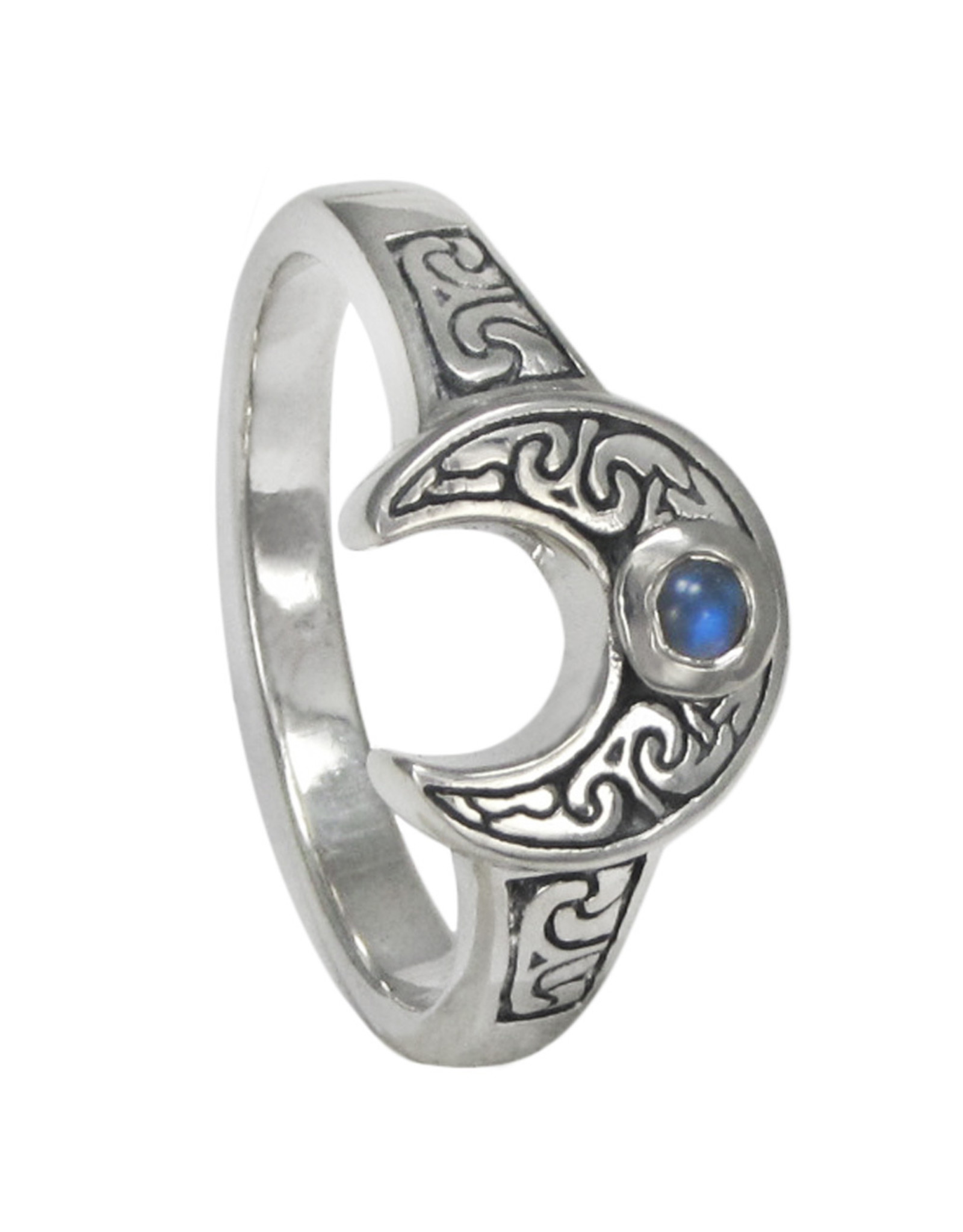 Horned Moon Ring with Rainbow Moonstone in Sterling Silver