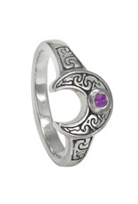Horned Moon Ring with Amethyst in Sterling Silver