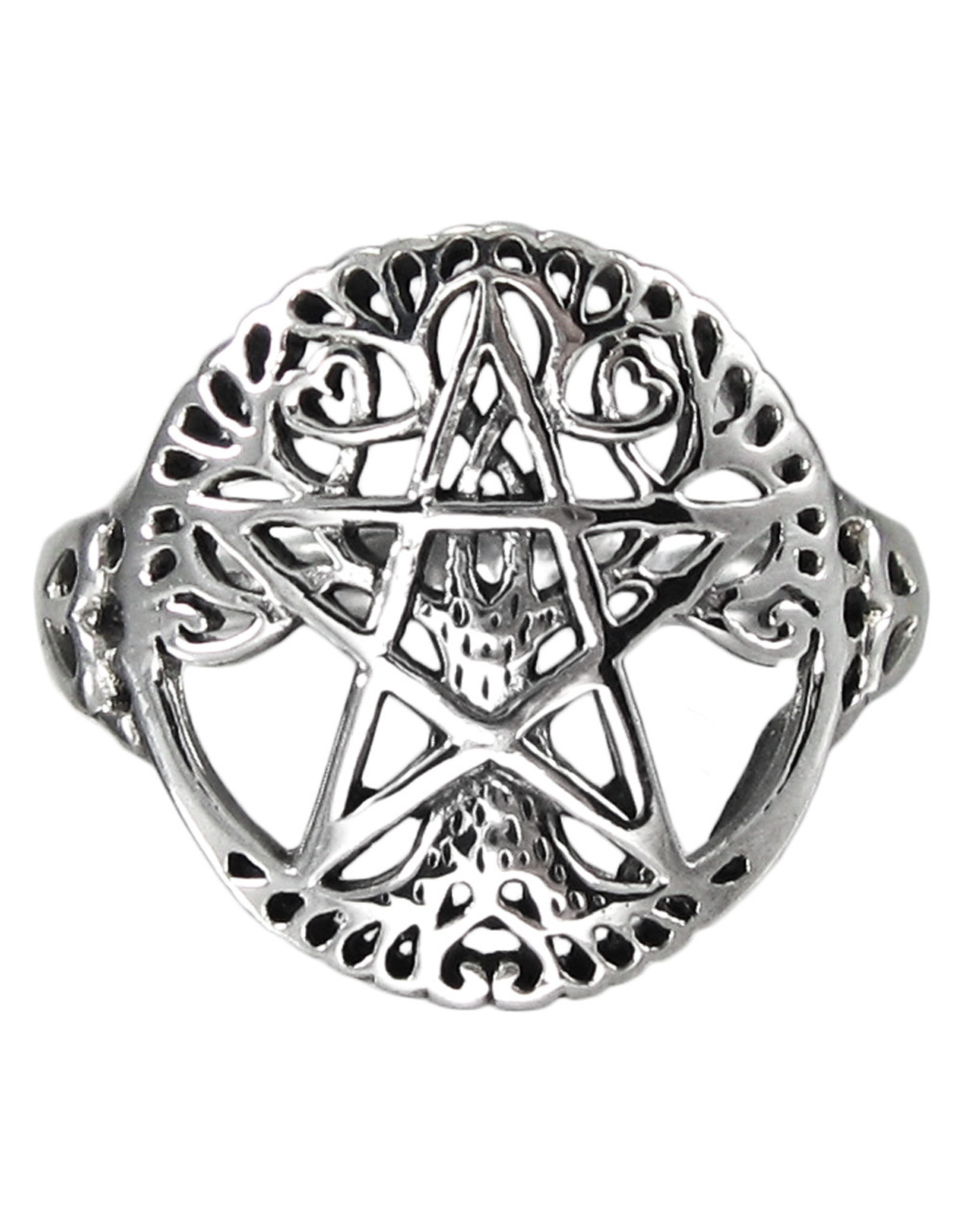 Tree Pentacle Ring in Sterling Silver