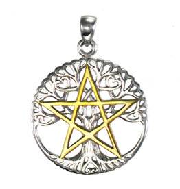 Vermeil Cut Out Tree Pentacle Pendant in Sterling Silver