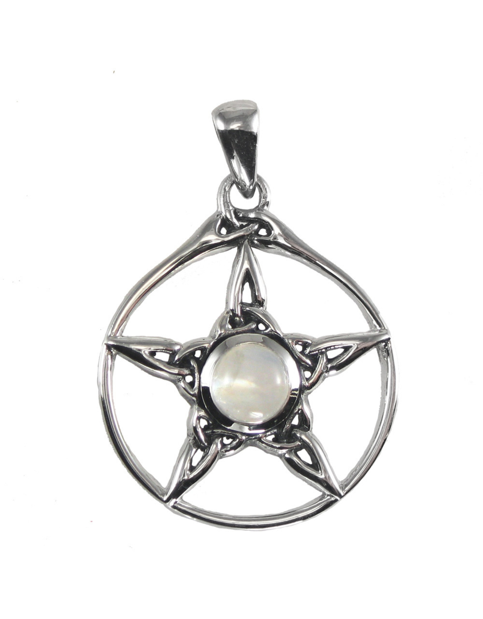 Triquetra Pentacle Pendant with Rainbow Moonstone in Sterling Silver