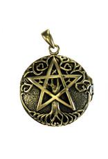 Tree Pentacle Aromatherapy Locket Pendant in Bronze