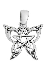 Small Butterfly Pentacle Pendant in Sterling Silver
