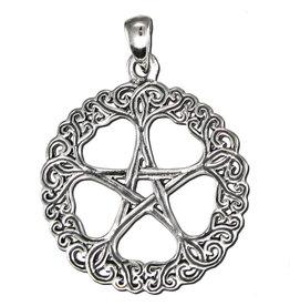 Rose Pentacle Pendant in Sterling Silver