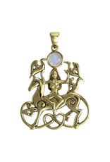 Rhiannon Pendant with Rainbow Moonstone in Bronze