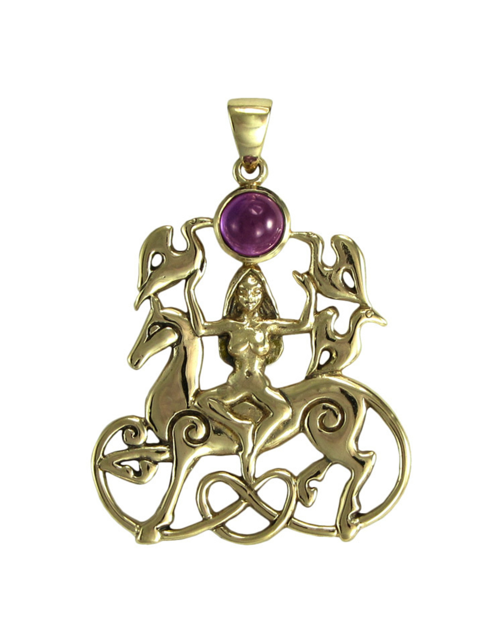 Rhiannon Pendant with Amethyst in Bronze