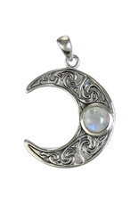 Horned Moon Crescent Pendant with Moonstone in Sterling Silver