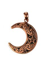 Horned Moon Crescent Pendant in Copper