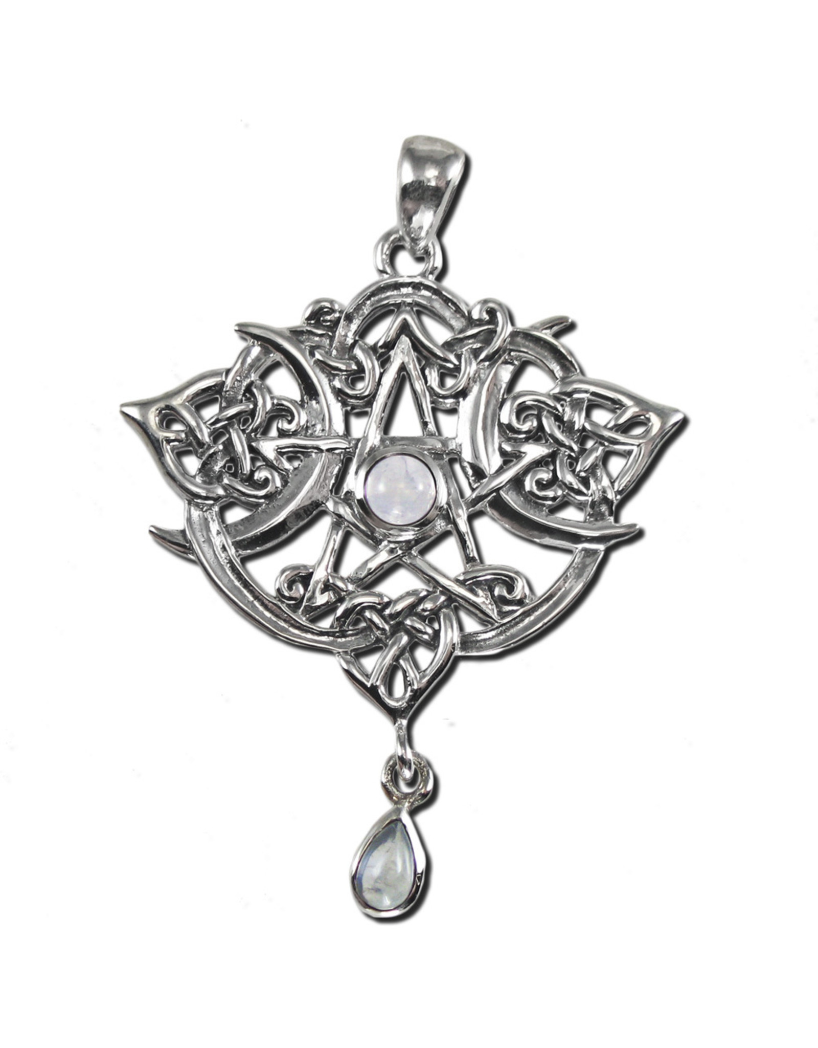 Heart Pentacle Pendant in Sterling Silver with Moonstone