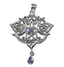 Heart Pentacle Pendant in Sterling Silver with Amethyst
