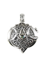 Heart Pentacle Locket in Sterling Silver with Rainbow Moonstone
