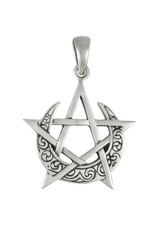 Moon Pentacle Pendant in Sterling Silver