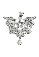 Dragon Pentacle Pendant in Sterling Silver with Rainbow Moonstone