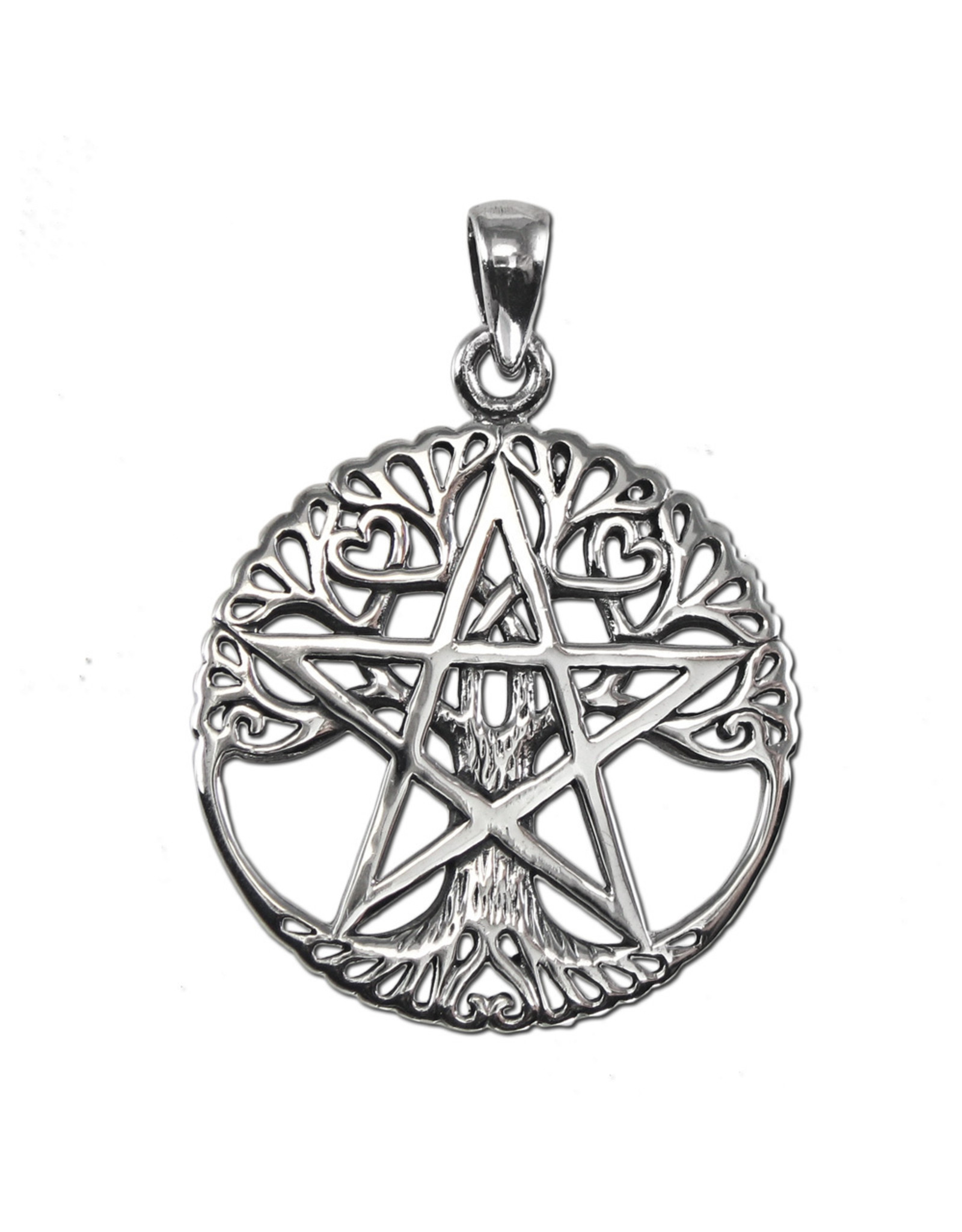 Cut Out Tree Pentacle Pendant in Sterling Silver
