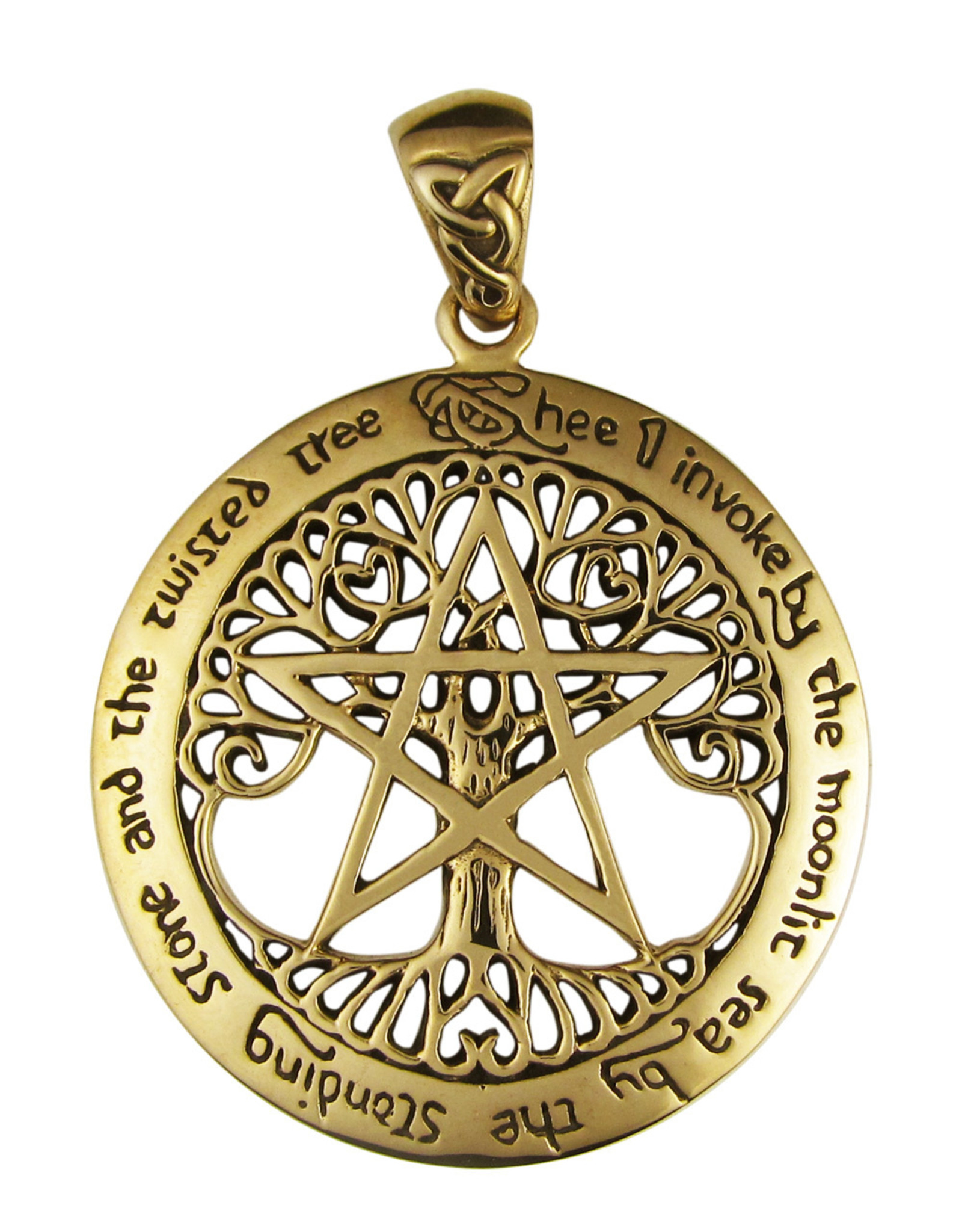 Cut Out Tree Pentacle Large Pendant in Bronze