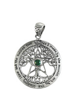 Cut Out Tree Large Pentacle Pendant with Malachite in Sterling Silver