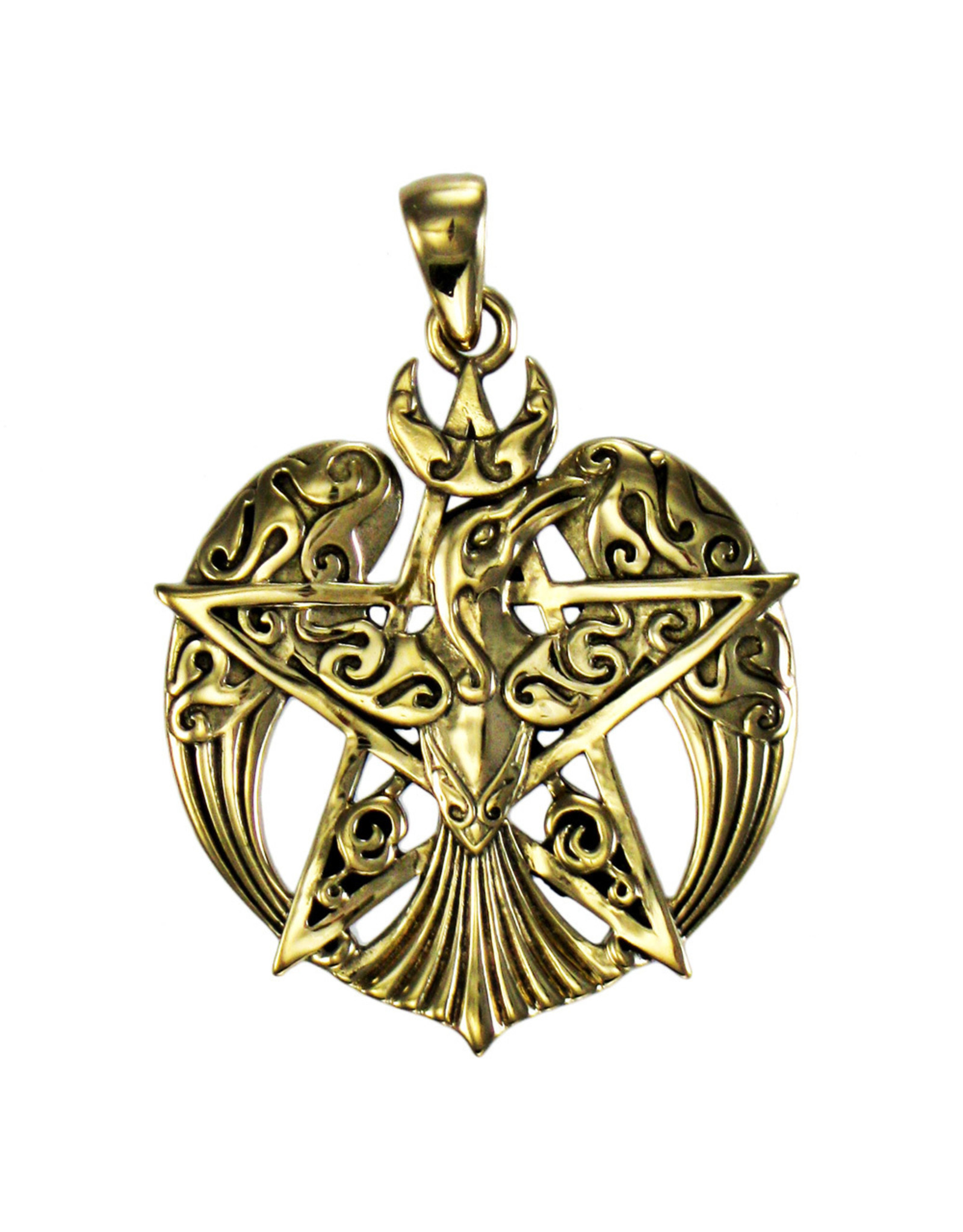 Crescent Raven Large Pentacle Pendant in Bronze