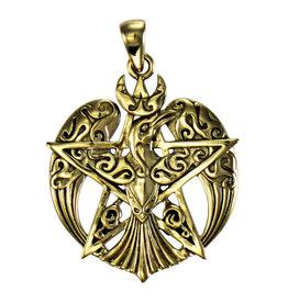 Crescent Raven Large Pentacle Pendant in Bronze