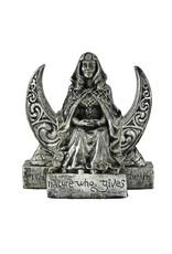 Moon Goddess Small Statue in Silver Finish