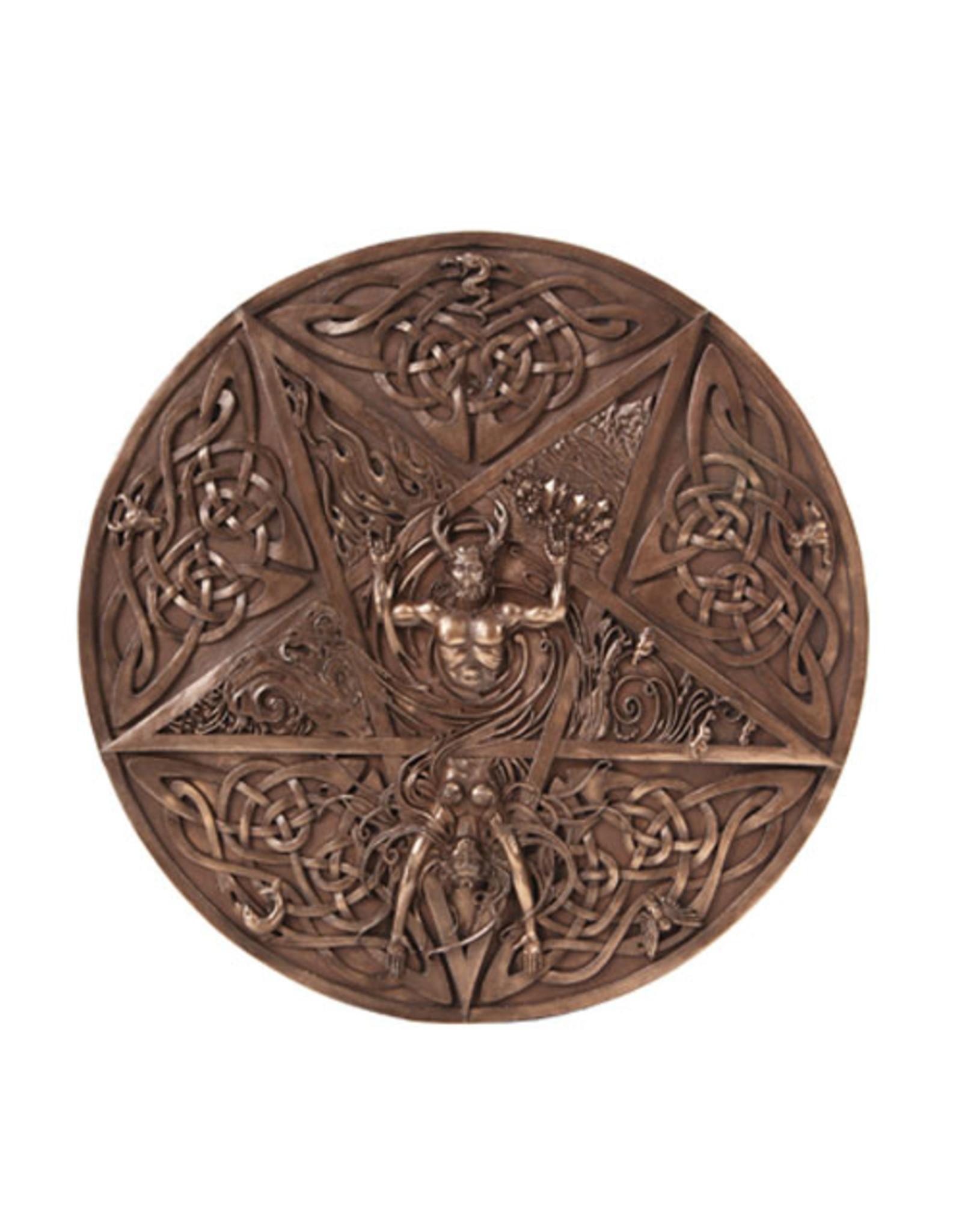 Horned God & Goddess Elemental Plaque in Cold Cast Bronze