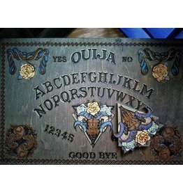 Silver Wood Snake & White Roses Ouija Board