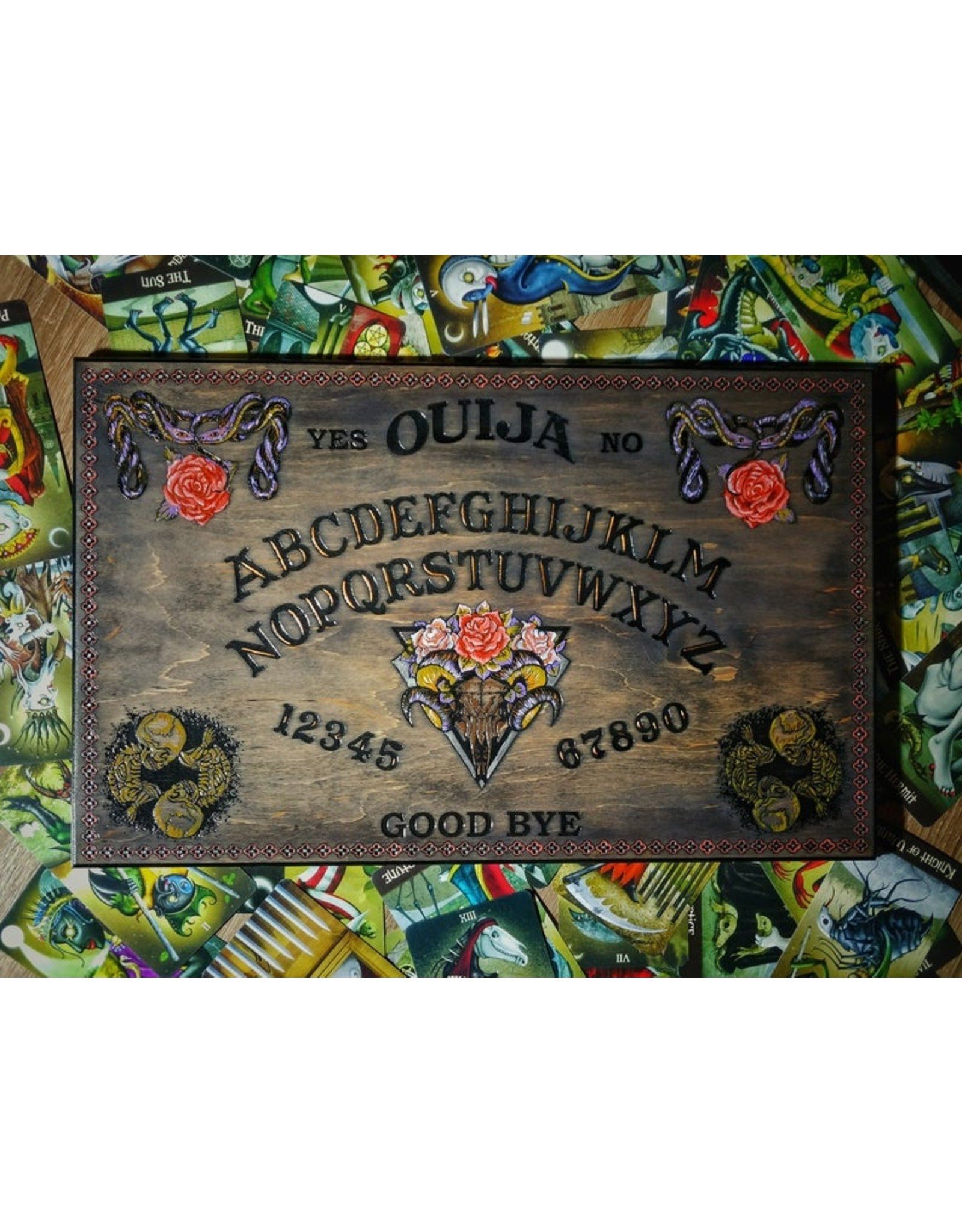 Silver Wood Snake & Pink Roses Ouija Board
