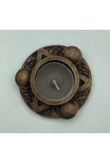 Wood Carved Triquetra Candle Holder