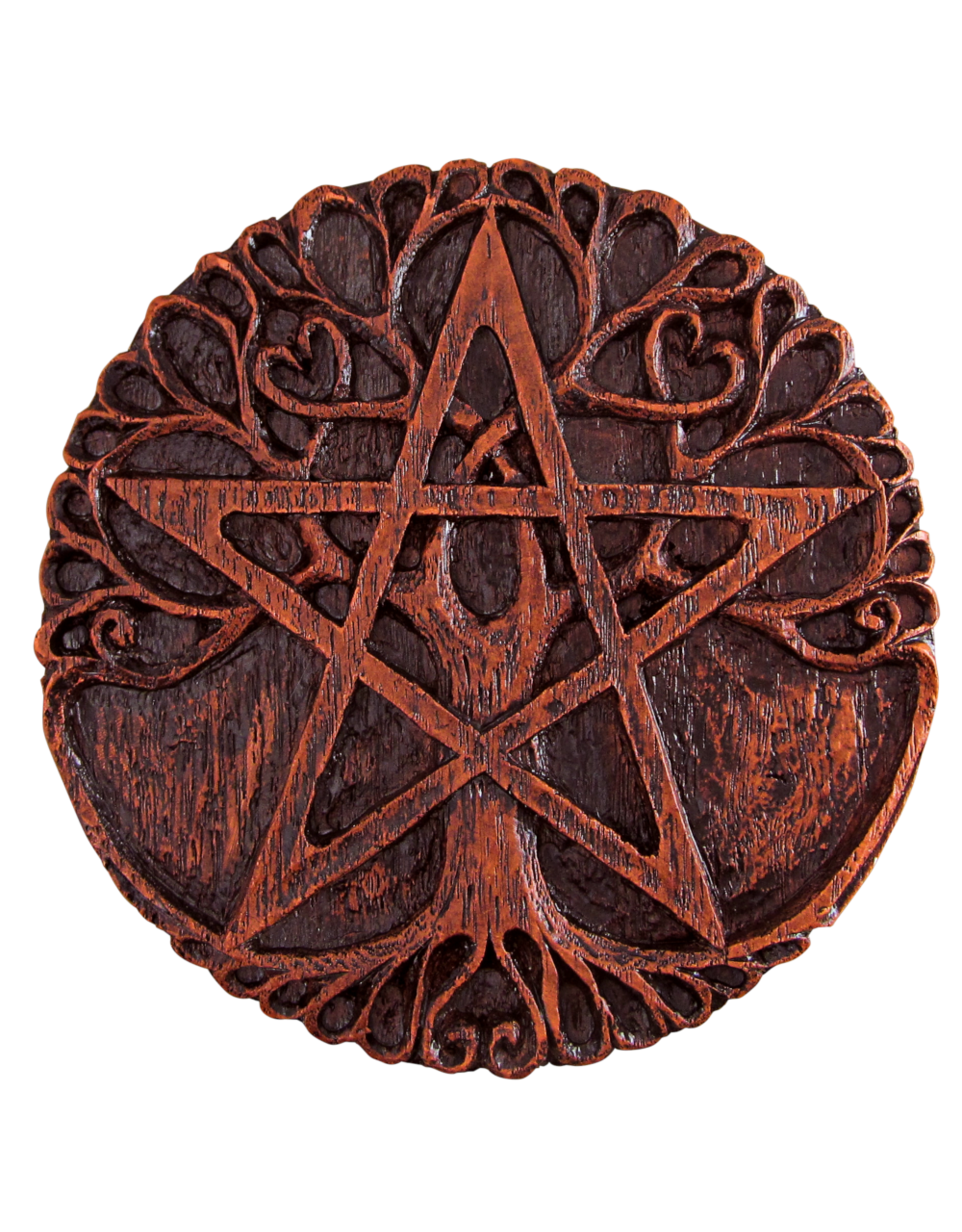 Small Tree Pentacle Plaque in Red Wood Finish