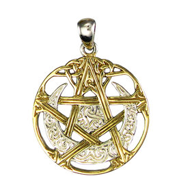 Vermeil Cut Out Moon Pentacle Pendant in Sterling Silver