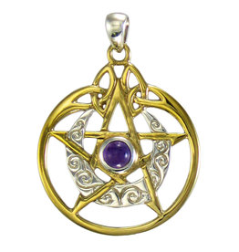 Vermeil Crescent Moon Pentacle Pendant with Circle and Amethyst in Sterling Silver